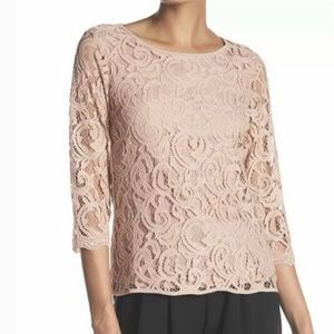 ADRIANNA PAPELL Lace Top NWT Size Small Pink Lace